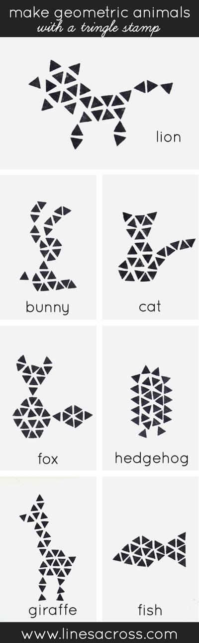 make-geometric-animals-with-a-triangle-stamp