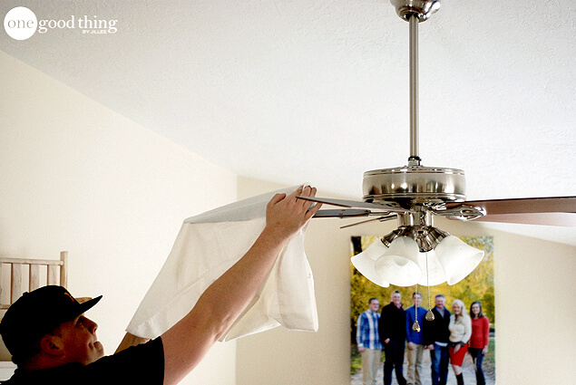 How to clean your ceiling fan in seconds one good thing by jillee cleaning ceiling fan mozeypictures Choice Image